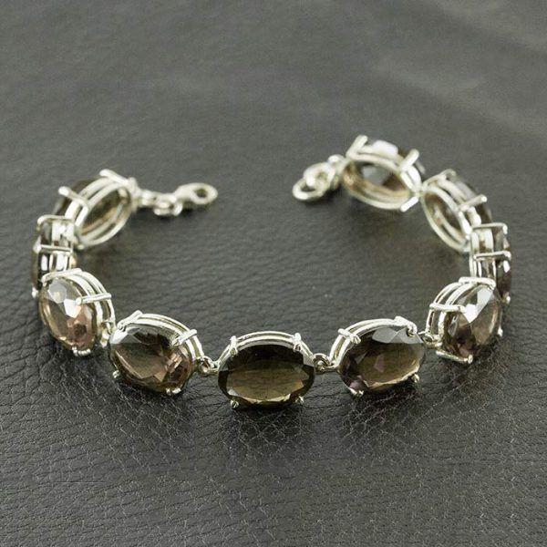 серебряный браслет с раухтопазом
