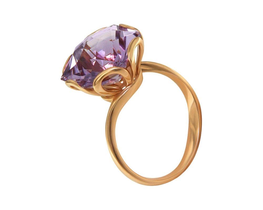 кольцо с аметистом кабошон