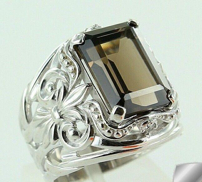 мужской перстень с раухтопазом