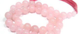чётки из розового кварца