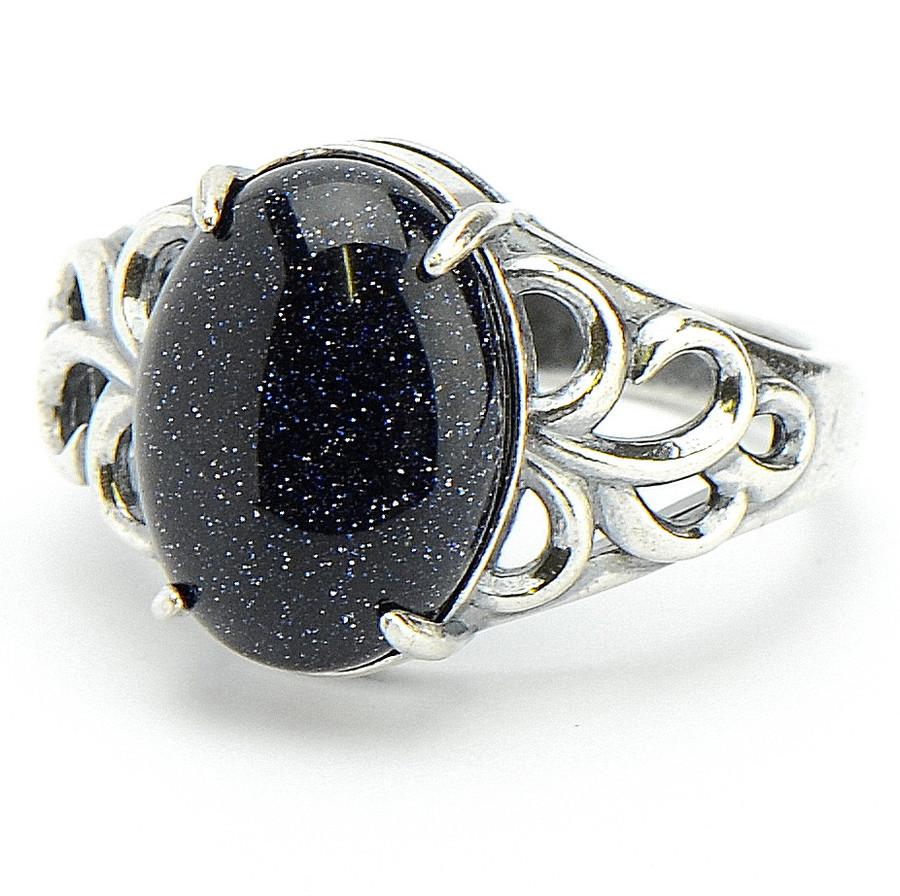 кольцо с чёрным авантюрином