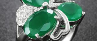 кольца с зелёным агатом