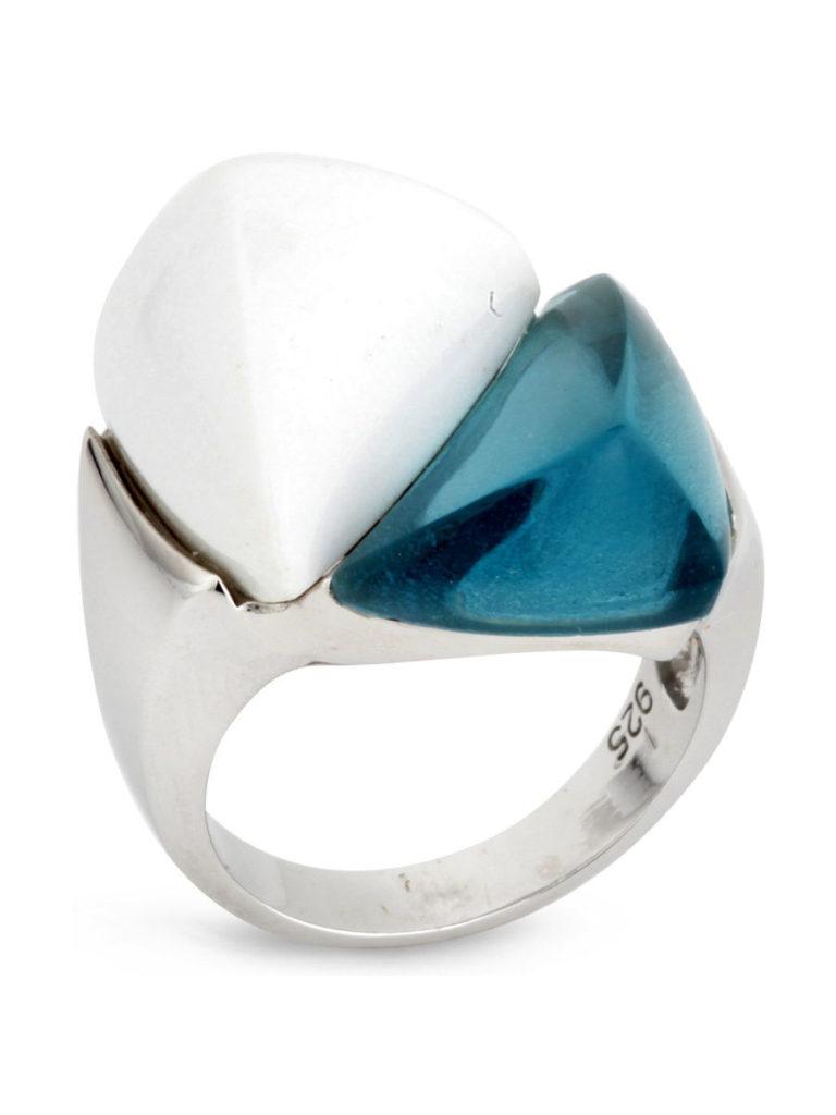 агат белый кольцо серебро