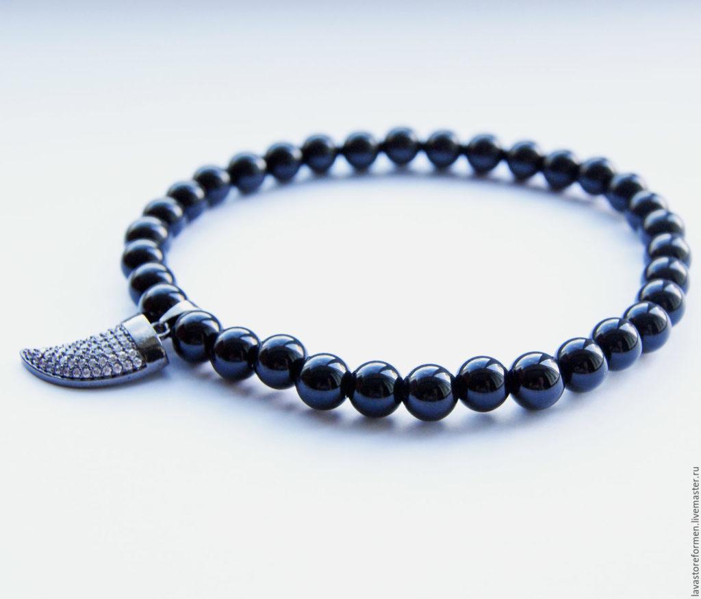 мужскй браслет из чёрного агата