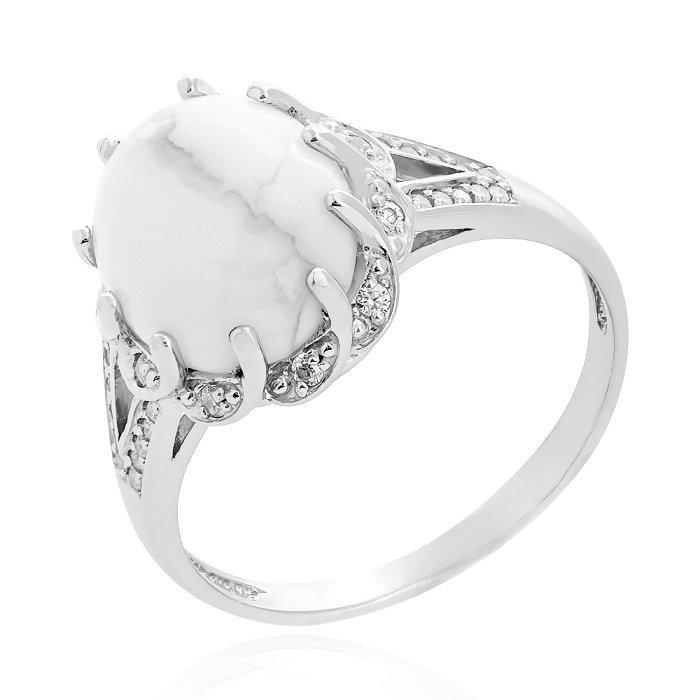 кольцо с белым агатом