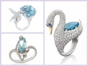 Фантазийные кольца с аквамарином