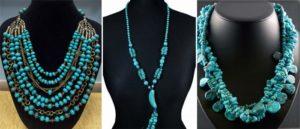 Виды ожерелья из натуральной бирюзы