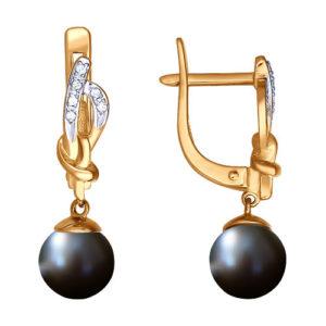 Золотые серьги с чёрным жемчугом