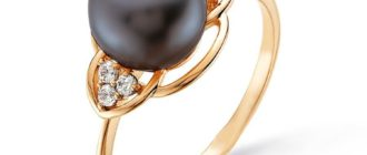 Кольцо с чёрным жемчугом