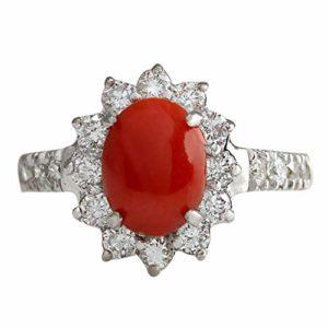 Кольцо с красным кораллом